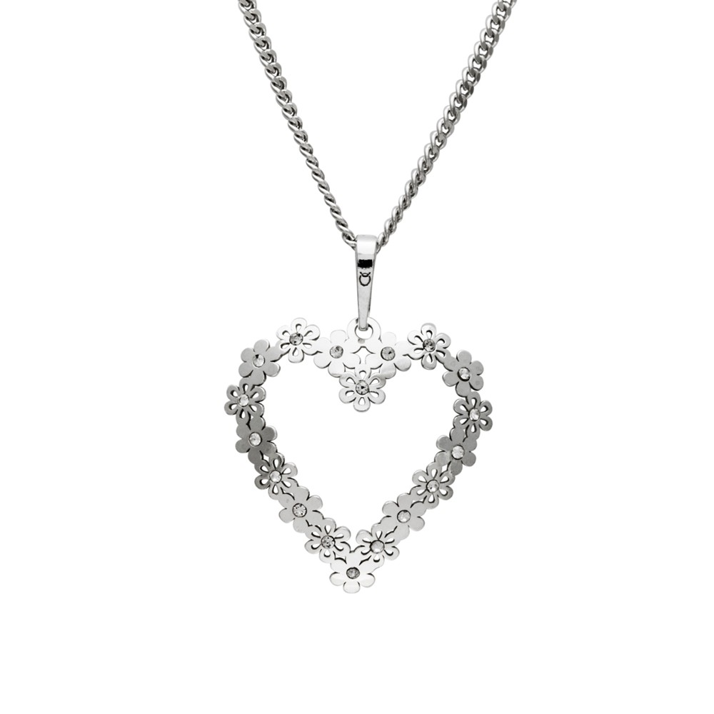 Silver Pendant with Chain Heartbeat
