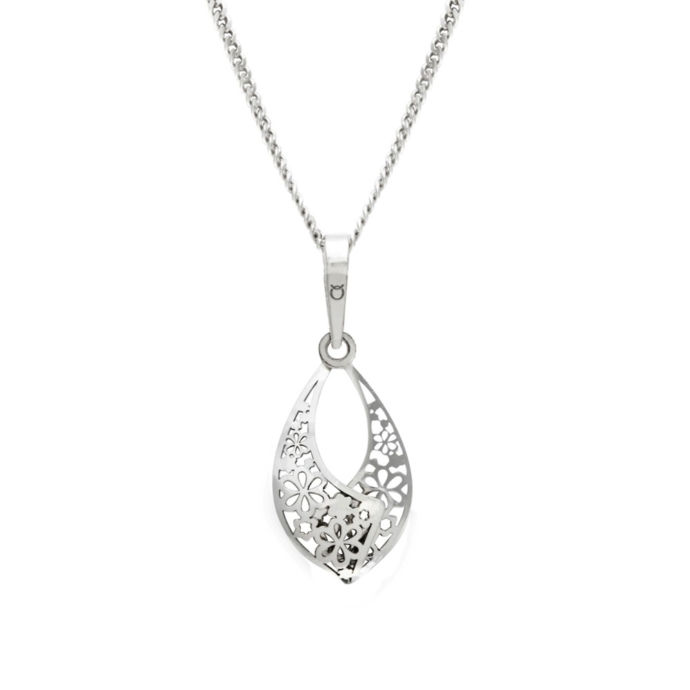 Silver Pendant with Chain Flower Poetry