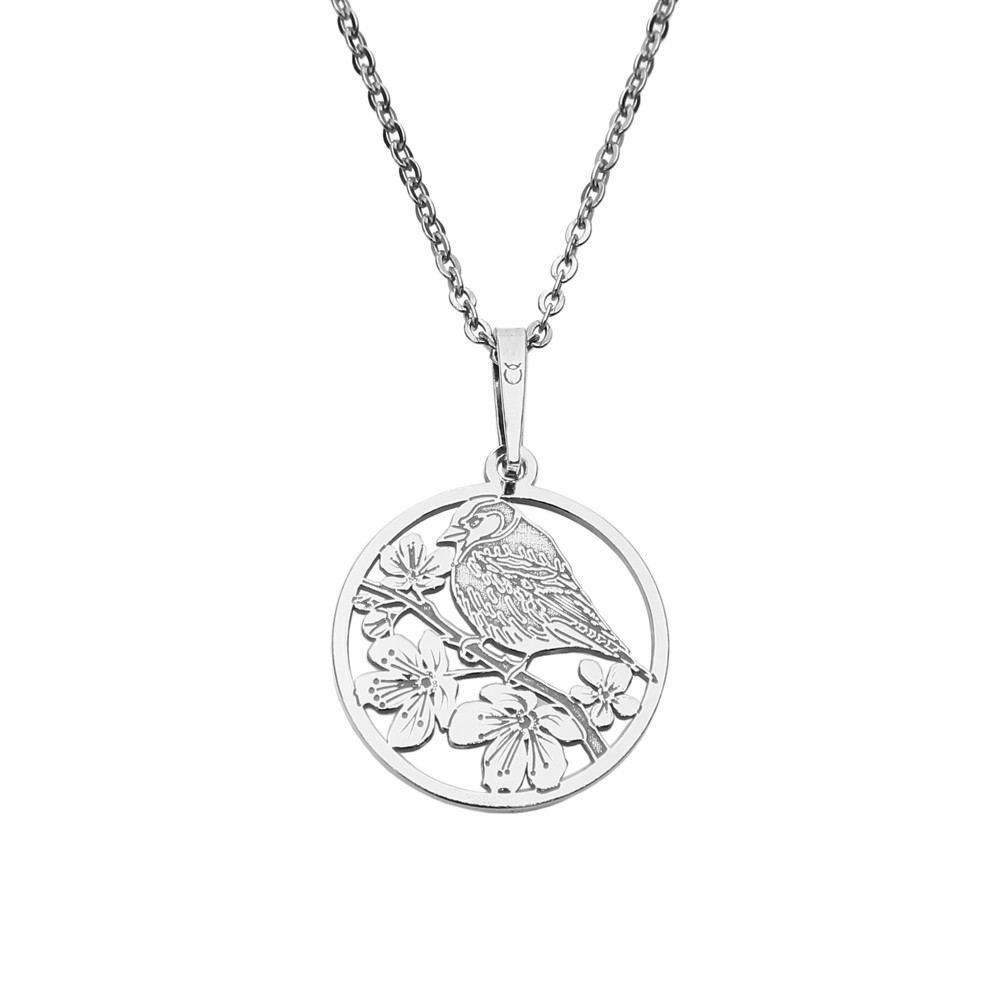 Silver Pendant with Chain Birdie