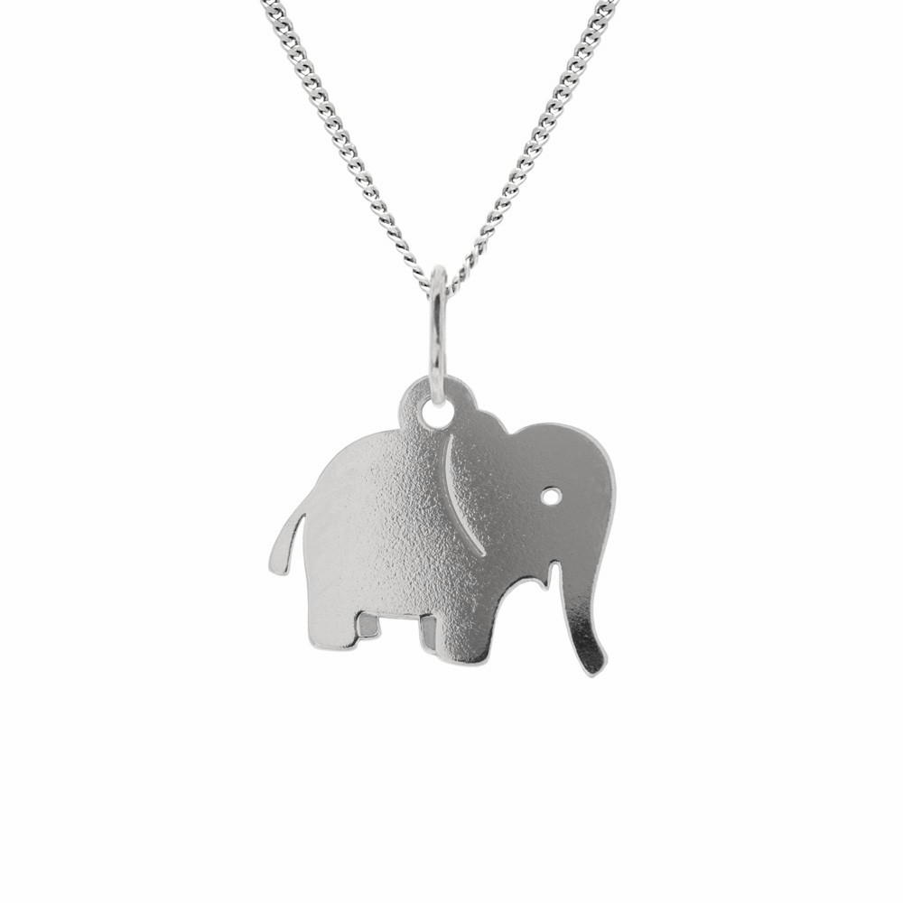 Childrens Silver Pendant with Chain Elephant