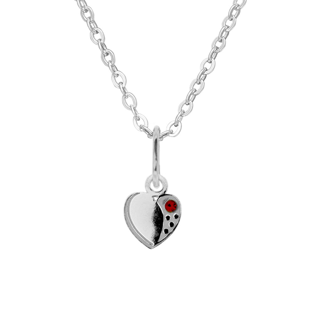 Childrens Silver Pendant with Chain Animal Heart