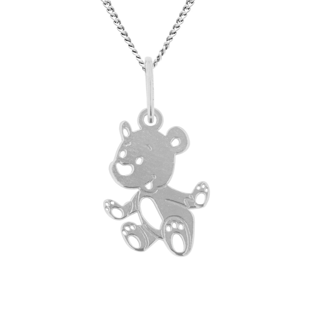 Childrens Silver Pendant with Chain Puppy