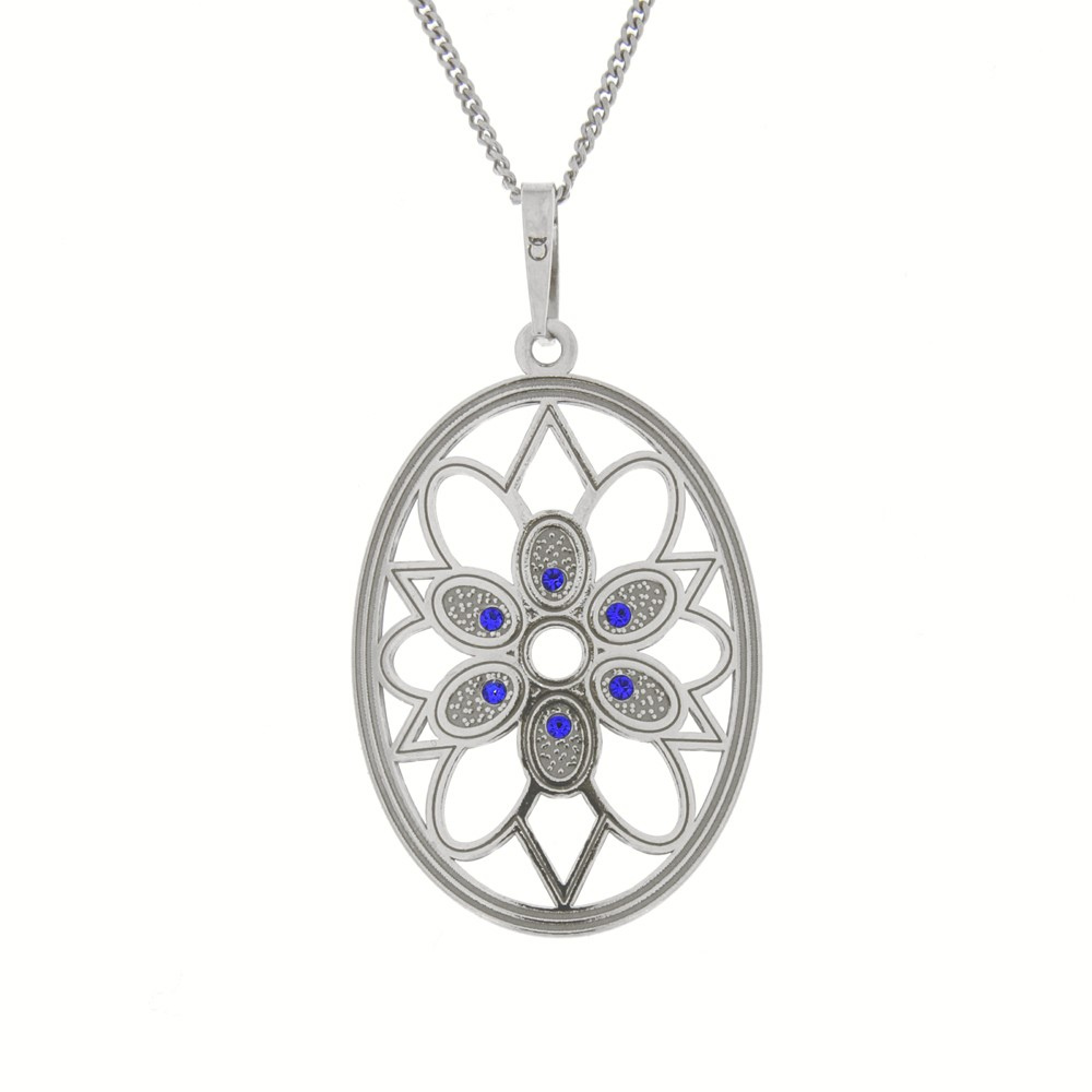 Silver Pendant with Chain Needlework Beauty