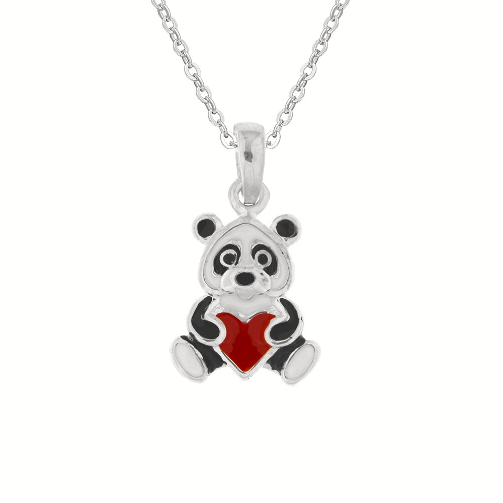 Childrens Silver Pendant with Chain Bear Heart