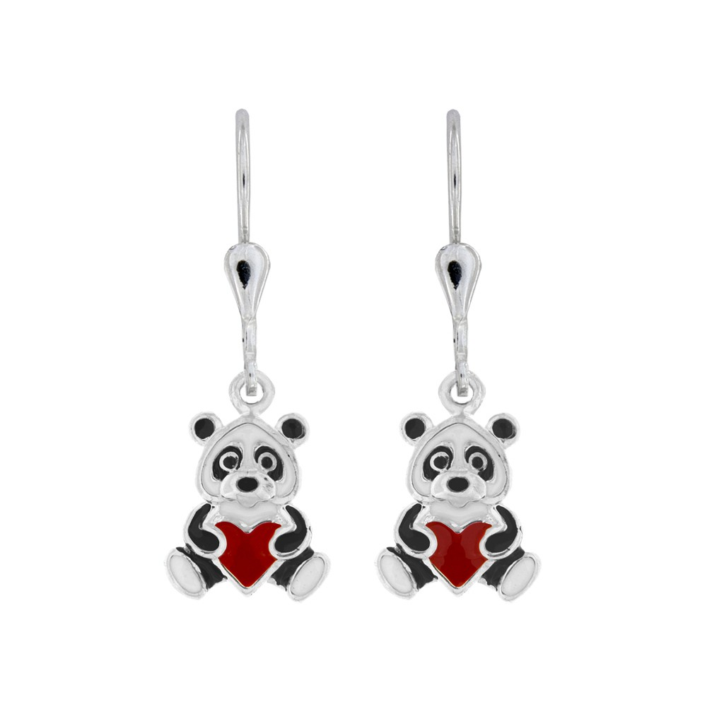 Childrens Silver Earrings Bear Heart