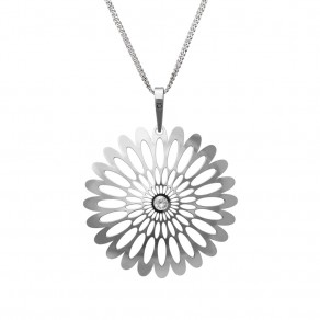 Silver Pendant with Chain Shining Blossom