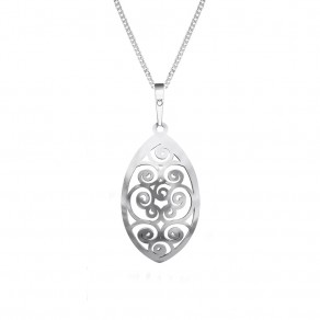 Silver Pendant with Chain KO1283S_CU040_50 Spiral