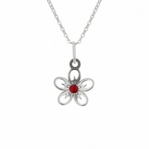 Childrens Silver Pendant with Chain Aple Blossom