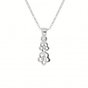 Childrens Silver Forget-me-not Pendant with Chain