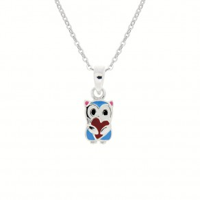 Childrens Silver Teddy Bear Pendant with Chain