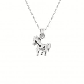 Childrens Silver Pony Pendant with Chain