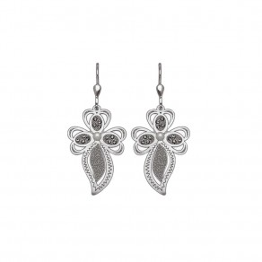 Silver Earrings Sparkling Leaves