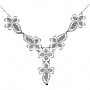 Silver Necklace Sparkling Leaves